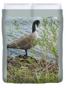 Mother And Child Canadian Geese Duvet Cover