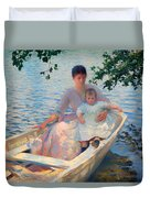 Mother And Child In A Boat Duvet Cover