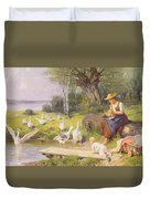 Mother And Child With Geese Duvet Cover