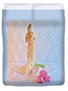 Mother And Child With Pink Tulips Duvet Cover