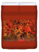 Mother And Son Canoeing Near Fall Duvet Cover