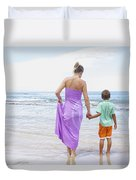 Mother And Son On Beach Duvet Cover
