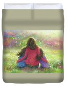 Mother And Twin Girls In Garden Duvet Cover
