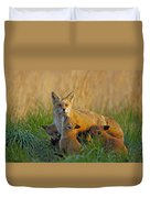 Mother Fox And Kits Duvet Cover by William Jobes