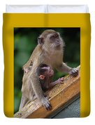 Mother Monkey And Her Baby Duvet Cover