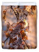 Mother Nature's Christmas Decorations - Golden Oak Leaves Jewels Duvet Cover