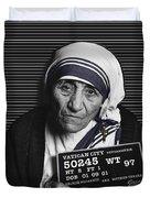 Mother Teresa Mug Shot Duvet Cover by Tony Rubino