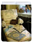 Mother's Chintz Chaise In The Corner Duvet Cover by RC deWinter