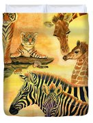 Mother's Day In The Wild Kingdom Duvet Cover