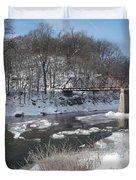 Motor Mill Winter Pano Duvet Cover