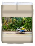 Motorcycle And Green Forest Duvet Cover