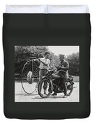 Motorcycle And Velocipede - 1921 Duvet Cover