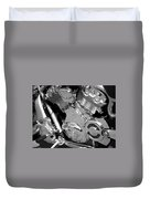 Motorcycle Close-up Bw 2 Duvet Cover