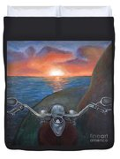 Motorcycle Sunset Duvet Cover