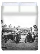 Motorcycles Set Golf Record Duvet Cover
