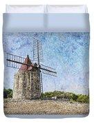Moulin De Daudet Fontvieille France On A Texture Dsc01833 Duvet Cover