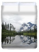 Mount Baker- Lake- Fir Trees And  Fog Duvet Cover