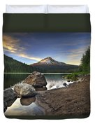 Mount Hood At Trillium Lake Sunset Duvet Cover