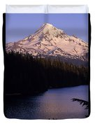 Mount Hood With Kids In Row Boat Silhouetted Duvet Cover