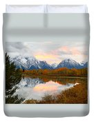 Mount Moran Reflection Sunset Duvet Cover