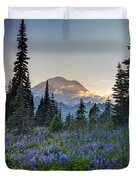 Mount Rainer Flower Fields Duvet Cover