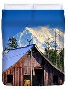 Mount Rainier And Barn Duvet Cover