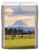 Mount Rainier And Grazing Horses Duvet Cover