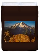 Mount Rainier At Sunset With Big Boulders In Foreground Duvet Cover