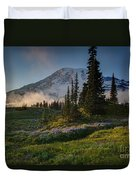 Mount Rainier Evening Fog Duvet Cover