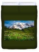 Mount Rainier Flower Meadow Duvet Cover