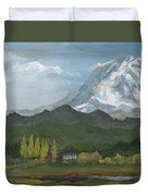 Mount Rainier From Lake Rap John  Duvet Cover