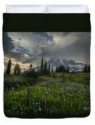 Mount Rainier Meadows Storm Brewing Duvet Cover