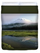 Mount Rainier Shrouded In Fog Duvet Cover