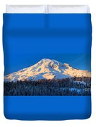 Mount Rainier Winter Evening Duvet Cover