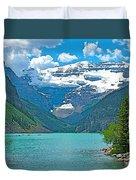 Mount Victoria Rises Above Lake Louise In Banff Np-alberta Duvet Cover