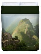 Mountain And Train Below Along Urubamba Duvet Cover