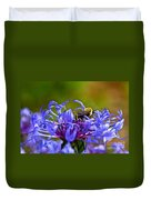Mountain Cornflower And Bumble Bee Duvet Cover by Byron Varvarigos