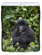 Mountain Gorilla Baby Chewing On Finger Duvet Cover