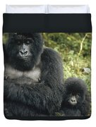 Mountain Gorilla Mother And Baby Duvet Cover