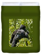 Mountain Gorilla With Infant  Duvet Cover