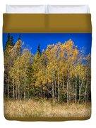 Mountain Grasses Autumn Aspens In Deep Blue Sky Duvet Cover