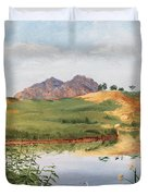 Mountain Landscape With Egret Duvet Cover