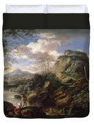 Mountain Landscape With Figures Duvet Cover