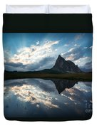Mountain Peak And Clouds Reflected In Alpine Lake In The Dolomit Duvet Cover