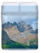 Mountain Peaks From Bow Summit Along Icefield Parkway In Alberta Duvet Cover