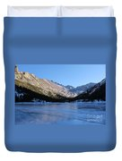 Mountain Reflection On Frozen Lake Duvet Cover