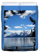Mountain Reflection On Jenny Lake Duvet Cover by Dan Sproul