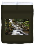 Mountain Stream With Scripture Duvet Cover