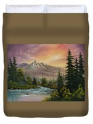 Mountain Sunset Duvet Cover by C Steele