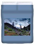 Mountain Wooden Fence  Duvet Cover